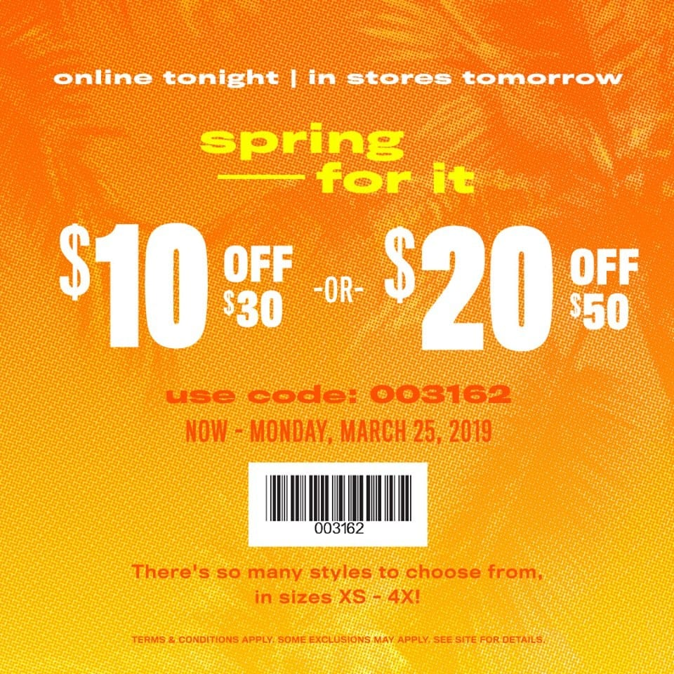 image about Rue 21 Coupons Printable referred to as Rue21 Spring coupon code: $10 off $30 or $20 off $50 acquire