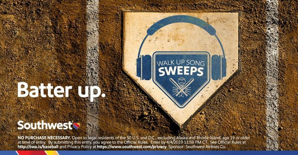 Southwest Airlines Walk-up Song Sweepstakes: Win a trip and