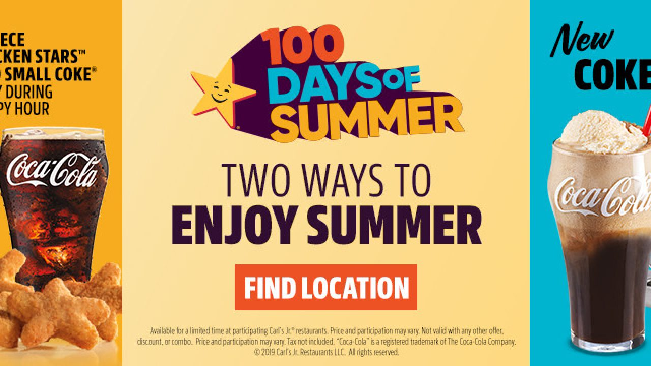 Carl's Jr  Happy Hour 100 Days of Summer 2019: 6-piece