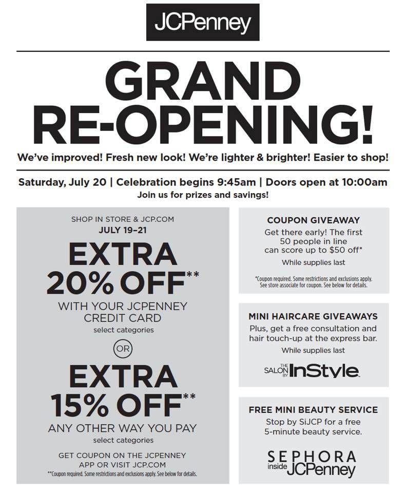 JCPenney Arrowhead Towne Center Re-opening July 20th Deals