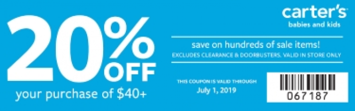 Carter S Coupon Code 20 Off Your 40 Or More Purchase On Sale Items